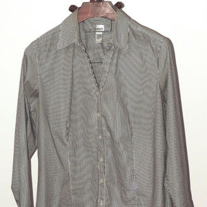 Chico's charcoal white silver striped blouse